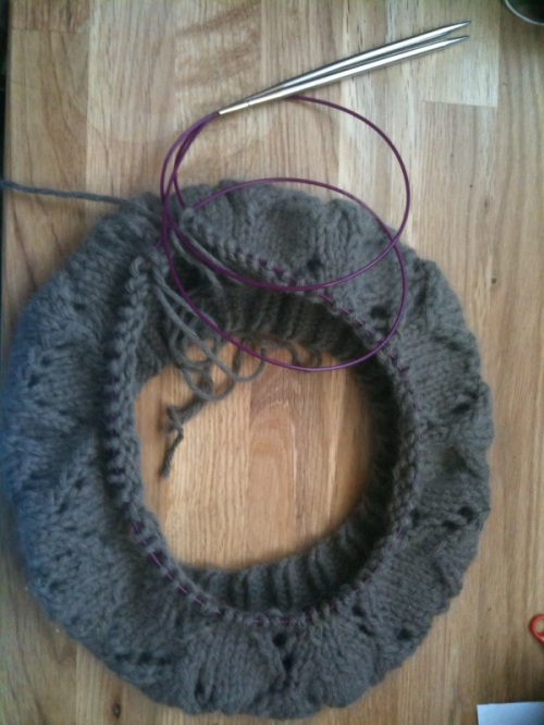 Hat done with one large circular needle