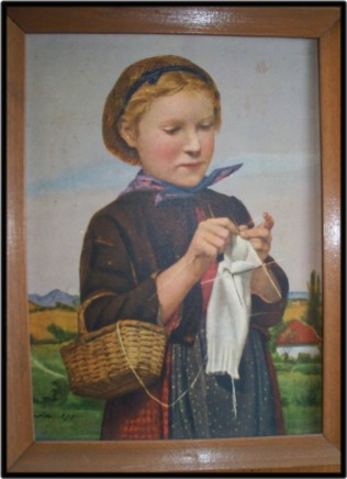 Kniting while walking - girl knitting a sock